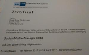 Social Media Manager - Zertifikat über die Fortbildung