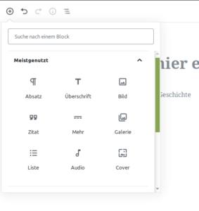 Blöcke im Gutenberg Editor